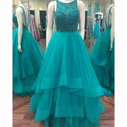 Wholesale peacock beaded dress - Peacock Blue Prom Dresses Backless Tulle Tiered A Line Floor Length Girls Pageant Dresses for Party Formal Elegant robes de soirée