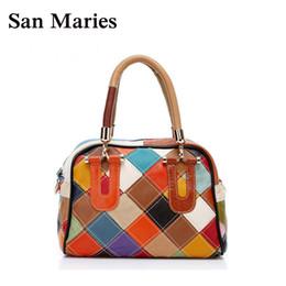 mehrfarbige leder patchwork handtasche Rabatt Echtes Leder Multi-Color Patchwork Frauen Lady Fashion Schulter Tote Bag Kleine Handtaschen