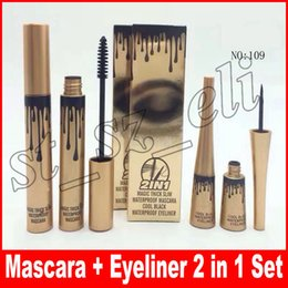 Wholesale natural fasting - 2 in 1 eyeliner mascara Magic thick waterproof mascara Black Eye Mascara Long Lasting Eyelash creams Liquid eyeliner set