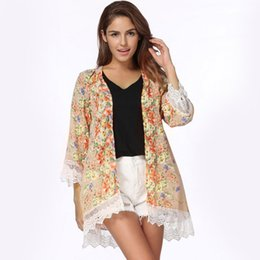 5679e96c943 2017 Vintage Women Bohemia Blouses Loose Chiffon Kimono Cardigan Floral Lace  Hem Long Sleeve Beachwear Boho Outerwear Khaki Tops