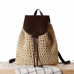 Wholesale holiday backpacks - LIXUN Summer Drawstring Straw Bag Hollow Out School Bag Knitting Backpacks Beautiful Beach Bagpack For Girls Travel Holiday
