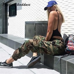 Wholesale Women Baggy Dance Pants - Dance Punk Sweatpants Women Pants Joggers Casual Camo Baggy Lady Trousers Pockets Femme ArmyGreen Red Camouflage Pantalon Mujer