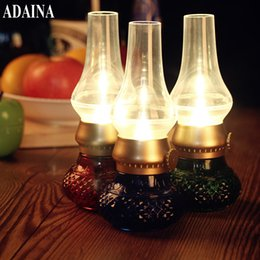 Wholesale vintage acrylic lamps - LED Vintage Lamps Night Light Blowing Pat Control Rechargeable Battery Operated Acrylic Romantic Dinner Lamps Home Decoration