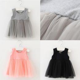 Wholesale Bohemian Style Skirts - Fashion baby girls vest dress summer kids cute Patchwork cotton lace tutu dress kids girls princess tulle dress skirt for baby 0-4T