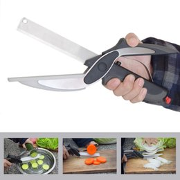 Wholesale smart knife - 2 In 1 Kitchen Clever Scissors Cutter Knife Cutting Board Smart Accessories Food Cheese Meat Stainless Steel Vegetable Cutter Tools Home