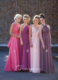coral bridesmaid watermelon dresses Coupons - 2019 Country Style Long Bridesmaid Dresses Watermelon Pink Purple Mixed Neck Ruched Backless Cheap Summer Boho Dresses