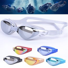 Wholesale Glass Swimming - Swimming Tools Swim Goggles Glasses with earplugs Water Goggles Water Sports Beach Swimming Glasses Leisure Electroplate Womens Mens M485