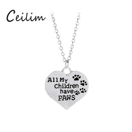 Wholesale Cheap Fashion Necklaces For Women - Fashion jewelry All my children have paws pet necklace for women silver colors heart shape pendant charm necklaces cheap gifts wholesale