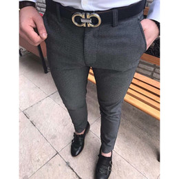 vestiti convenzionali abiti Sconti Envmenst 2017 formale uomo tinta unita pantaloni vestito casuale moda Slim Fit Business giacca pantaloni dritti