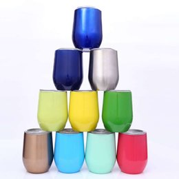 Wholesale Tea Glasses Cup - Keep Cold 9oz Flask Vacuum Thermos 304 Stainless Steel Tea Egg Cups Car Tumbler Travel Mug Wine Glass Teapots Beer Cooler Christmas Gifts