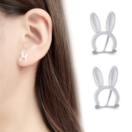 bunny earrings Coupons - Bunny Ears Earrings Women Plated S925 Sterling Silver Temperament Cute Wild Personality Simple Student Ear Decoration Tide