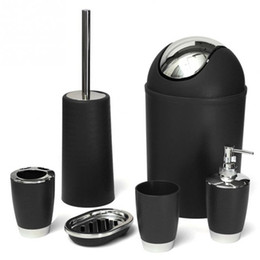 Wholesale Bathroom Bins - HOT Bathroom Accessories Sets 6Pcs Set Bathroom Necessities Toothbrush Holder Toilet Brush Soap Dish Bin Cup Sprayer Bottle