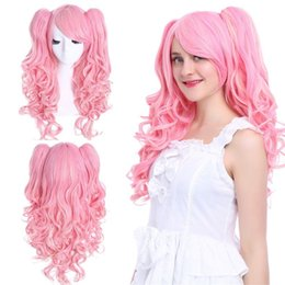 2019 cosplay de queue de cheval rose Lolita Rose Blonde Clip Ondulé Bouclés Sur 2 Queues De Cheveux Cheveux Cosplay Perruques Anime Perruque cosplay de queue de cheval rose pas cher