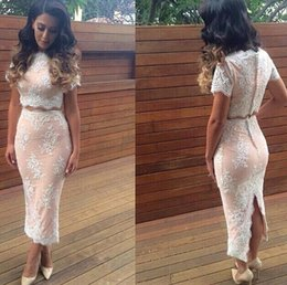 Wholesale Custom Online Printing - Modern Lace Two Piece 2018 Prom Dress Zipper Button Back Women Special Occasion Prom Dress Abendkleider Online
