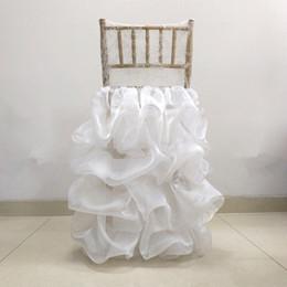 Rüsche stuhl abdeckungen online-Lace Organza Weddding Chiavari Chair Cover Romantic Ruffled Wedding Chair Decor Engagement Party Accessories Custom Made