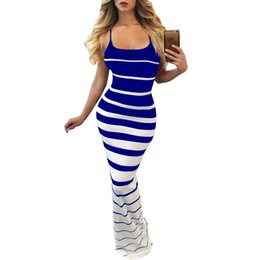 Wholesale sexy stripes dresses long - Sexy Casual Sleeveless Stripe Long Dress Women Black Blue Backless Summer Party Maxi Dresses Size S-XL