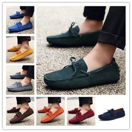 Wholesale mens red loafers suede - Mens Suede Loafer Men's Boat Shoes Driver Shoes Slip-on Casual Comfort Shoes Size US6-13 AK2081