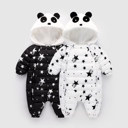 Winter Baby Romper Panda Star Pattern Jumpsuit Hooded Snowsuit Baby Girls Winter Down Cotton Coat Outerwear Children от