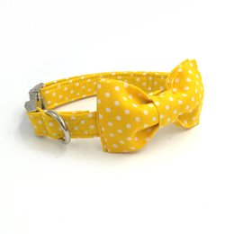 Wholesale Personalized Pet Jewelry - yellow dog collar with bow tie personal custom pet pupply designer product dog &cat necklace jewelry XS-XL