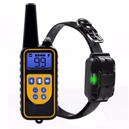 Wholesale Dog Electronic Remote Collars - Rechargeable Waterproof Remote Dog No Bark Shock Training Collar Electronic LCD Display Shock Training Collar With Light Free Shipping