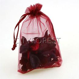 bolsos del favor de borgoña Rebajas 100 Unids / lote Claret Color Organza Cordón Bolsas Joyería Favor de la Boda Bolsas de Regalo 13cm x 18cm Bolsas de Dulces de Navidad burdeos