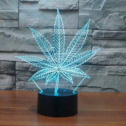 Wholesale Change Leaves - Maple Leaves 3d Illusion Lamp Transparent Acrylic Night Light Led Fairy Lampa Color Changing Touch Table Bulb drop shipping Free Shipping