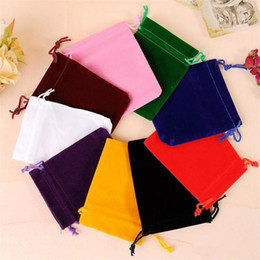 Wholesale Necklaces Fabric - Soft Velvet Jewelry Pouches Storage Bags Rings Necklace Earrings Stud Bracelets Bangle Gift Drawstrings Packaging Bags 5x7cm 7x9cm 10x12cm