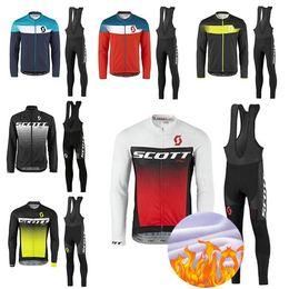 Wholesale Scott Pants - 2018 TEAM SCOTT Cycling Jersey 9d GEL Pants Set Ropa Ciclismo MTB Thermal Fleece Windproof PRO Cycling Wear Bike Clothing Suit