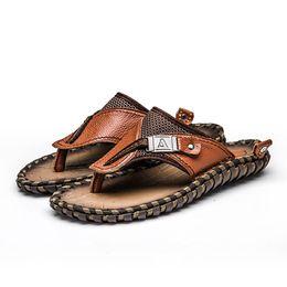 77198d626f72 men fashion plus size genuine leather sandals summer beach shoes man sea  side dress flat shoe thong flip flop handmade slipper handmade leather  sandals men ...