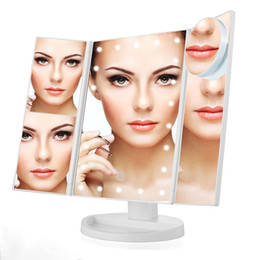 Wholesale magnifying lighted makeup mirror - Three Folding Touch Screen Makeup Mirror Professional Vanity 21 LED Lights Health Beauty with 10X Magnifying Small Mirror