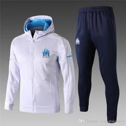 Wholesale Tights Men Suit - Hoodie Suite 2018 Marseille Soccer Training Suits Blue Neymar JR Survetement Tracksuits Uniforms Shirts Long Sleeve Tights Pants