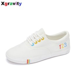 Wholesale Footwear Colorful Shoes - Xgravity Hot Flats Spring Autumn Colorful Woman Canvas Shoes Female Shoes Casual Flat Woman Comfortable Lady Footwear C014