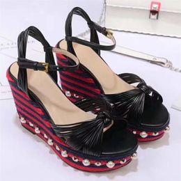 Wholesale Beaded Platform Sandals - 2018 Women High Wedge Bohemia Sandals Pearl Beaded Summer Casual Shoes Bowknot Luxury Designer Platform Sandals S822