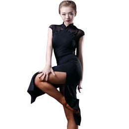 Robes de style latin en Ligne-Robe de danse latine femmes Flapper robe Salsa Tango robe Samba D0025 ourlet fendu 2 couleurs style Cheongsam