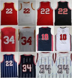 Wholesale Dream Team - Top Quality 34 Hakeem Olajuwon Jersey Throwback 1992 USA Dream Team One 10 22 Clyde Drexler Basketball Jerseys Red White