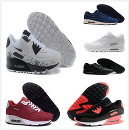 Wholesale Tennis Floor - Brand New Hight Quality Mens Womens Classic 90 casual Shoes Black White Mens Womens Trainers Sneakers Man Walking Air Sports tennis Shoes