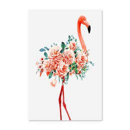 Wholesale Pictures Numbers - DDiy digital oil painting by numbers drawing hand painted picture Wall Decor pictures for living room Red Flamingo and flower