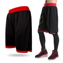Wholesale boys black trousers - New 2018 Men's Basketball Shorts Boy Sport Running Short Trousers Training Fitness Elastic Summer Beach Gym Breathable Plus Size