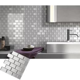 Vara de vinil on-line-Metrô de prata telha autoadesivo peel e vara adesivo de parede decalque diy cozinha banheiro home decor vinil, pacote de 4 peças