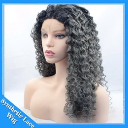 Wholesale Silver Curly Wig - Black Roots Silver Grey Ombre Synthetic Wigs For Women Heat Resistant Natural Kinky Curly Afro Front Lace Wigs Cosplay Party Wigs