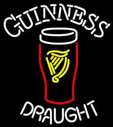 """Restaurante comercial letreros de neón online-Guinness Draft Beer Neon Sign Tubo de vidrio hecho a mano real de la tienda de vidrio KTV Club Restaurant Hotel Commercial Display Letrero de neón de 20 """"X24"""""""