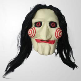 Trajes assustadores on-line-Trajes de Halloween Dos Homens Das Mulheres Dos Miúdos Máscaras Partido Cosplay Saw Máscaras Assustadoras Com Peruca de Cabelo Trajes de Halloween Traje Acessórios