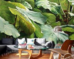 Papéis de parede verdes simples on-line-Sudeste Asiático Estilo Tropical Rainforest Green Leaves Foto Papel De Parede Cozinha Sala De Estar Restaurante Moderno Simples Decoração Da Casa