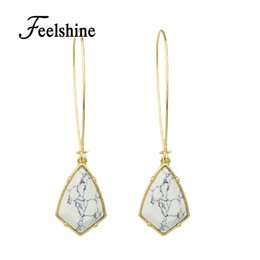 Wholesale Color Stone Earrings - whole saleFeelshine Ethnic Style Earrings Jewelry Gold-Color With White Marble Stone Geometric Shape Hanging Earrings For Women