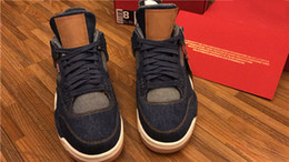 Wholesale Sail Shoes Men - AIR RETRO 4 IV NRG X LS MEN BASKETBALL SHOES DENIM DENIM-SAIL-GAME RED VOILE ROUGE JEU AO2571-401 FLIGHT JANES JANE BASKETBOL SHOES