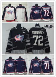 92bd6d8acd0 Mens Columbus Blue Jackets 2018 New Brand Hockey Jersey 71 Nick Foligno 72  Sergei Bobrovsky Blank all Sewn Cheap Hockey Jerseys