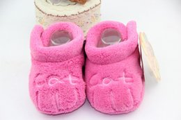 Wholesale Coral Baby Shoes - Children Baby Kids Boy Girl Vintage Floor Shoes Warm Coral Fleece Cartoon Letter Soft Toddlers First Walkers slippers