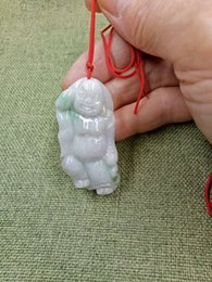 jade jadeite pendant Australia - Certified-Oily-Green-Natural-A-Jade-jadeite-Hand-Carved-Happy-Buddha-God-Pendant