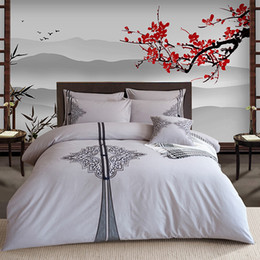 Wholesale Oriental Cover - Traditional Embroidered Oriental Retro Style Bedding set 4Pcs King Queen size Bed Fit sheet set Duvet Quilt cover Pillow shams