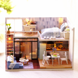 Wholesale Miniature House Lighting - Cute Room DIY Doll House With Furniture LED Light Miniature 3D Wooden Mini Dollhouse Handmade Toys Gift For Kids L023 #E